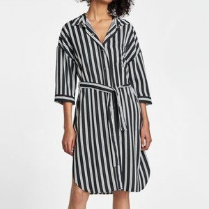 Zara Striped Button Down Shirt Dress Sz.XS